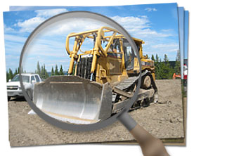 Magnifying Glass - with Machinery Picture